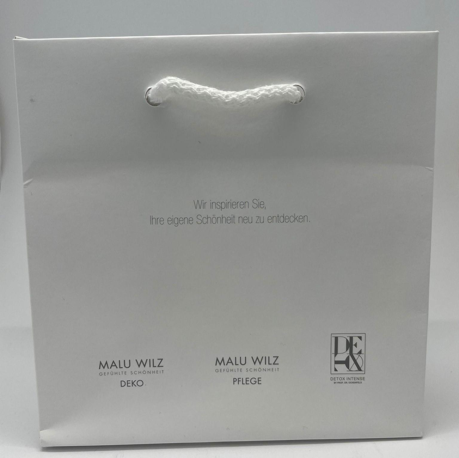 Papiertragtasche klein matt weiss mit allen Markenlogos